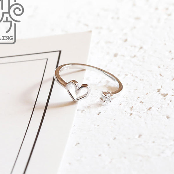 Romantic Love Heart Silver Cute Cat Girl Open Ring