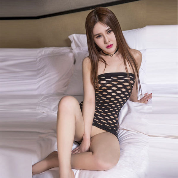 Sexy Black Nightdress Mesh Intimate Fish Net Women Lingerie
