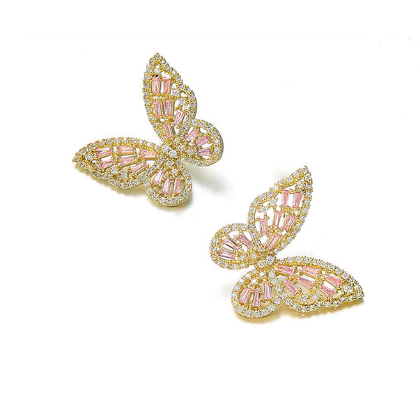 Fashion Butterfly Zircon Hollow Earrings Animal Earrings Studs