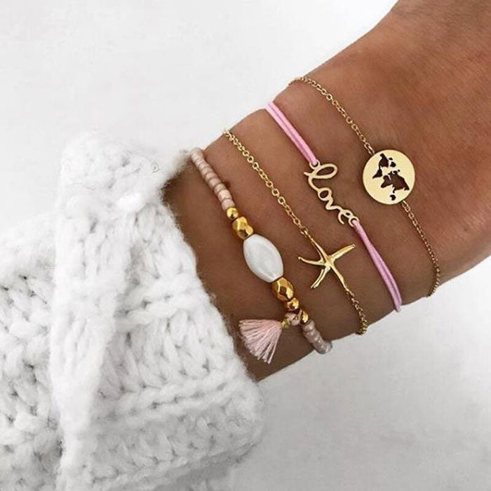Leisure LOVE Letter Starfish Map Tassel Four Piece Set Bracelet