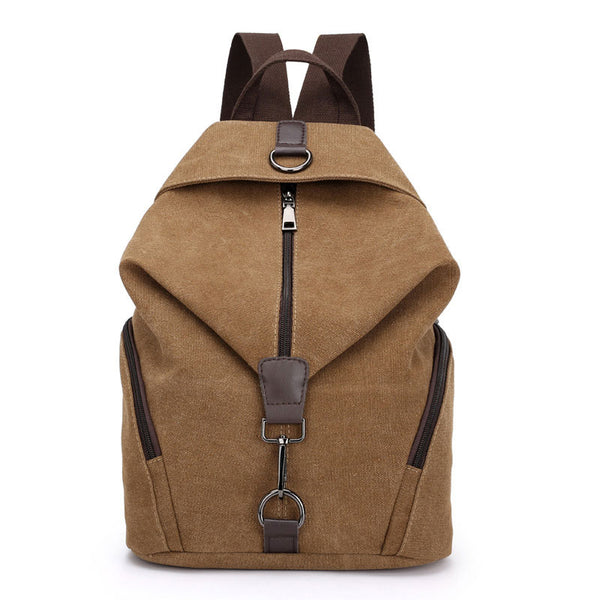 Fashion Folds Single Buckle Multi-function Canvas School Backpack
