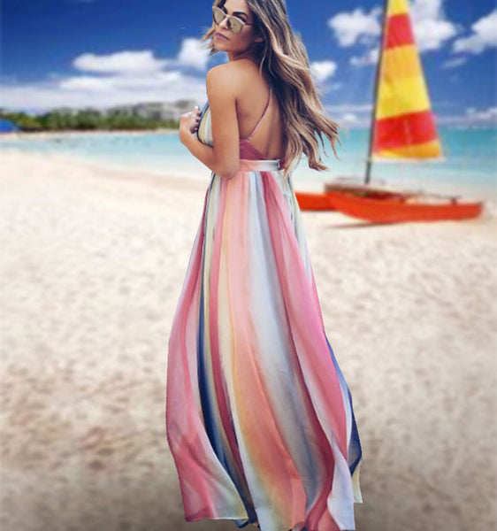 Fashion Multi-color Stripe Open-back Cross Suspender Bohemian Long Summer Dress