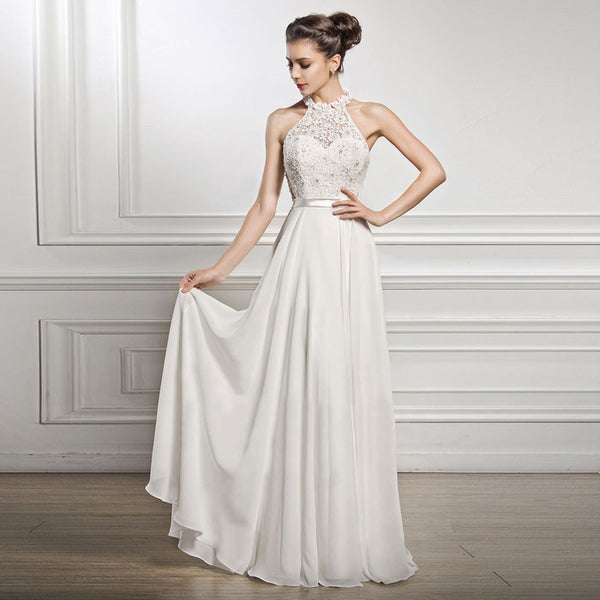 Elegant Wedding White Long Dress Lace Sleeveless Party Bridesmaid Dress Formal Dress