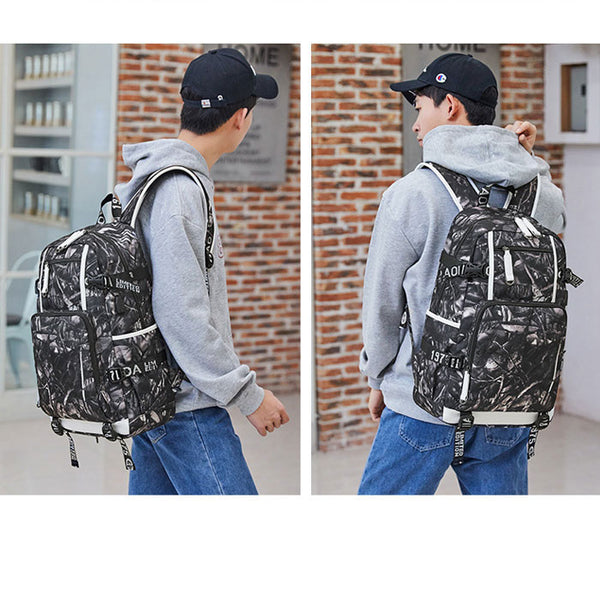 Leisure Water Fire Print Large-capacity Computer Teen Backpack Waterproof For Middle School Students Backpack