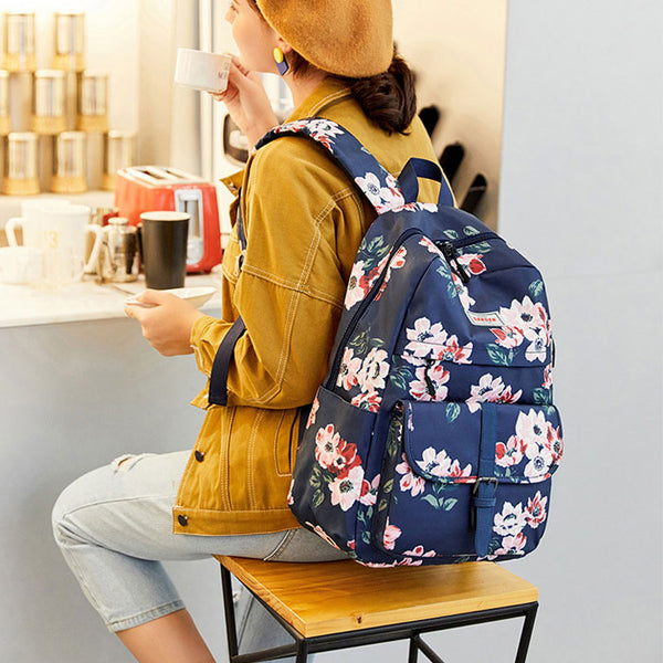 Leisure Middle School Bag Large Capacity Waterproof  Flower Print Single Buckle Computer Bag Backpack