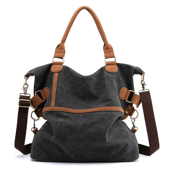 Casual Multifunction Shoulder Bag Retro Large-capacity Commuter Canvas Handbags