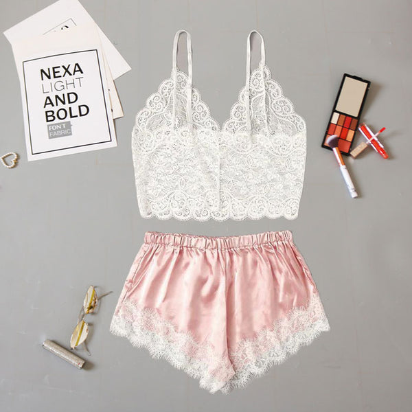 Sexy White Flower Lace Vest Bra Set Lace Shorts Pajamas Women's  Intimate Lingerie