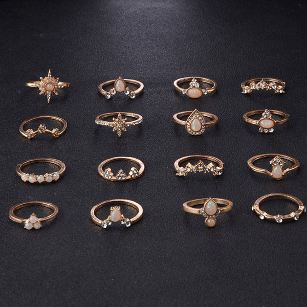 Vintage Diamond Crown Water Drop 16 Piece Set Women Ring