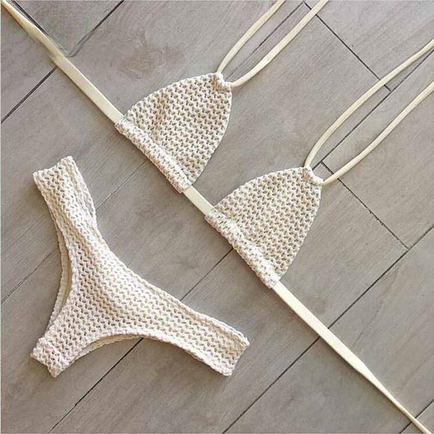 White gauze Swimsuit Sexy Bikini Halter Swimwear Bathingsuit For Big Sale!- Fowish.com