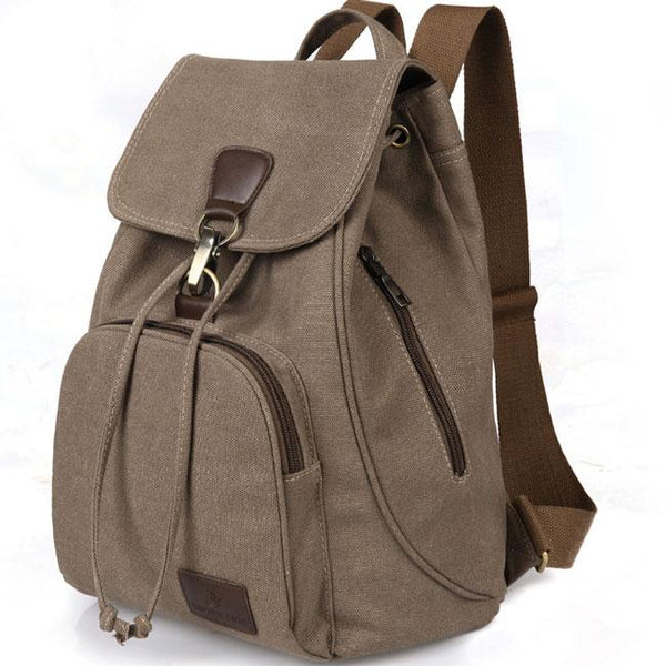 Retro College Bag Outdoor Hiking Single Button Canvas Backpack For Big Sale!- Fowish.com