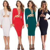 Women's Sexy Long Sleeve Stretch Bodycon Party Bandage Dresses For Big Sale!- Fowish.com