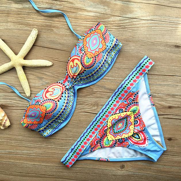 Folk Style Printed Bikini Set Swimwear Swimsuit Bathingsuit - lilyby