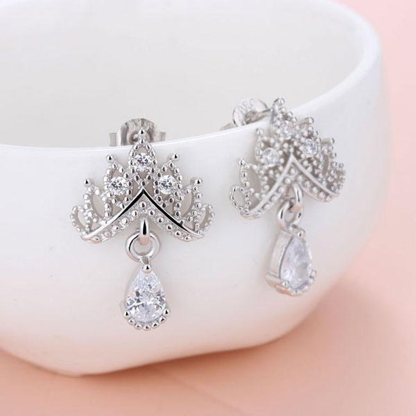 Shining Crown Earrings Wild Ear Jewelry Diamond Zircon Drop Earrings Studs For Big Sale!- Fowish.com