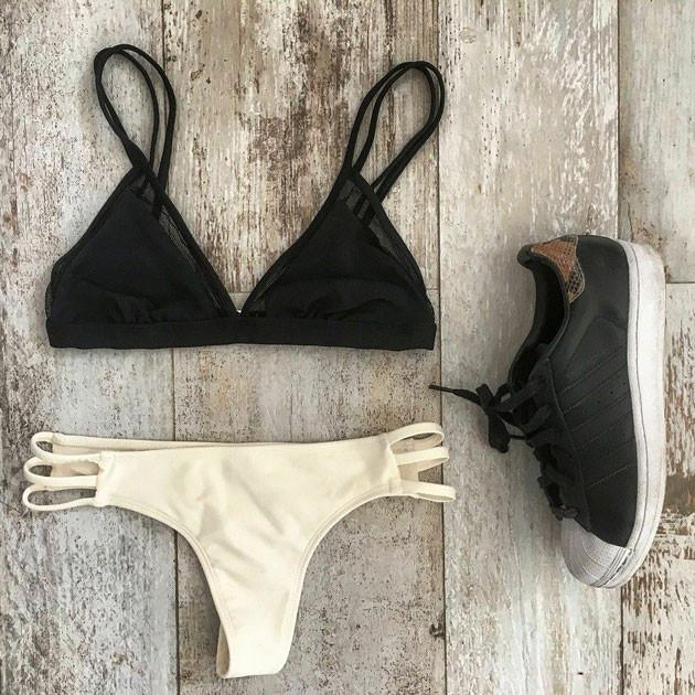 Sexy Black And Cream Bikini Swimsuit Swimwear Bathingsuit For Big Sale!- Fowish.com