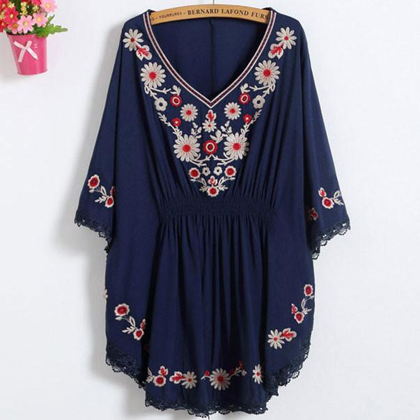 Sleeves Flowers Embroidery Waist Tight Lace Details Top For Big Sale!- Fowish.com