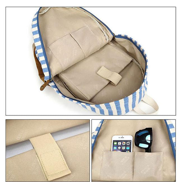 Sweet College Striped Student Rucksack Leisure Travel Canvas Backpack For Big Sale!- Fowish.com