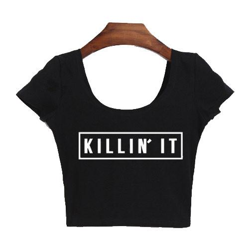 KILLIN'IT Printing sexy Exposed Navel Short-sleeved T-shirt - lilyby