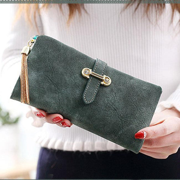 Unique Girl's Dull Polish Leather Multi-function Purse Long Wallet Clutch Bag For Big Sale!- Fowish.com