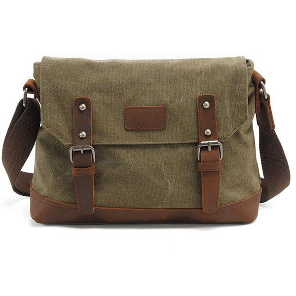 Retro Thick Canvas Flap Handbag Splicing Leather Belt Large Shoulder Bag For Big Sale!- Fowish.com