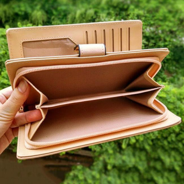 Fresh Leaves Hollowed-out Rectangle Purse Card Bag Women  PU Wallet Clutch Bag For Big Sale!- Fowish.com
