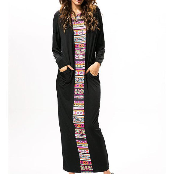 Women's Long Botwing Sleeves Splicing Printing Full-length One-step loose Dress For Big Sale!- Fowish.com