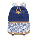 Vintage Fresh Floral Polka Dot Canvas Travel Backpack Leisure Backpack&Schoolbag For Big Sale!- Fowish.com
