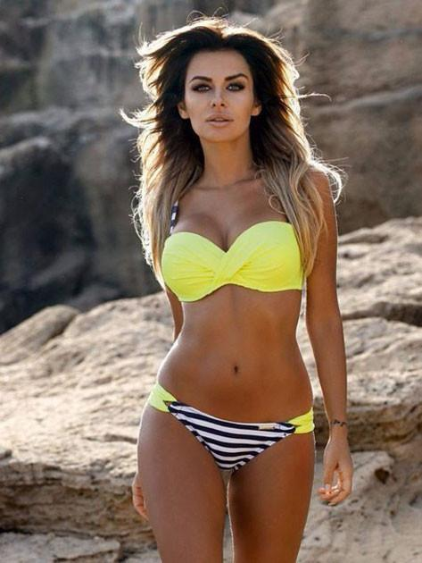 Stripes Contrasting Color Lemon Bikini Set Swimsuit Swimwear Bathingsuit For Big Sale!- Fowish.com