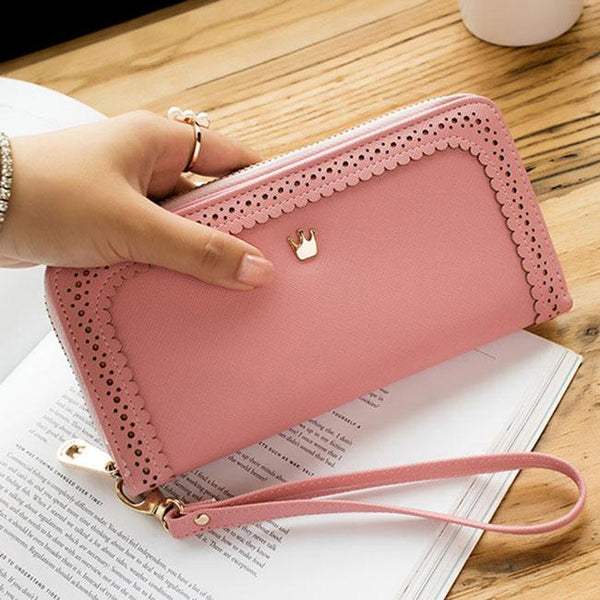 Fresh Girl's PU Hollow Dents Crown Lace Purse Card Wallet Clutch bag For Big Sale!- Fowish.com