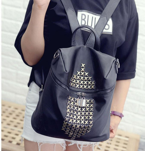 Waterproof  Rivet Leisure Travel Backpack Oxford Cloth Schoolbag For Big Sale!- Fowish.com