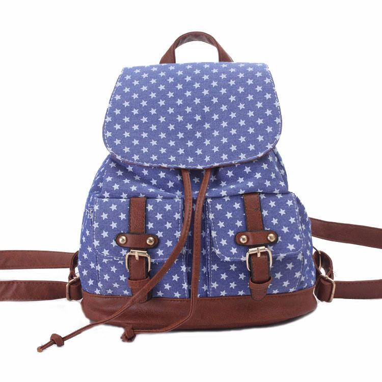 Star Printing  Schoolbag Backpack Blue Canvas Travel Backpack For Big Sale!- Fowish.com