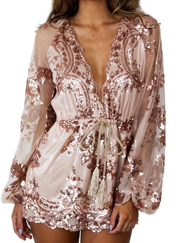 New Sexy  Flower Rose Gold Glitter Sequin V Neck Long Sleeve Dress For Big Sale!- Fowish.com