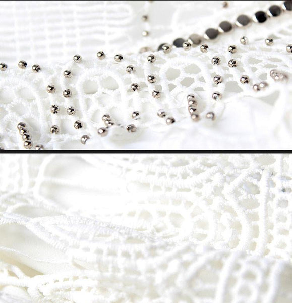 Collar Rivet Hollow Out Soluble Flowers Beaded Lace Dress For Big Sale!- Fowish.com