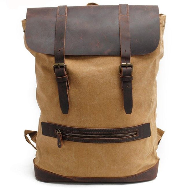 Real Leather Splicing Thick Canvas Outdoor Hiking Backpack Retro Large Camping Cylinder Rucksack For Big Sale!- Fowish.com