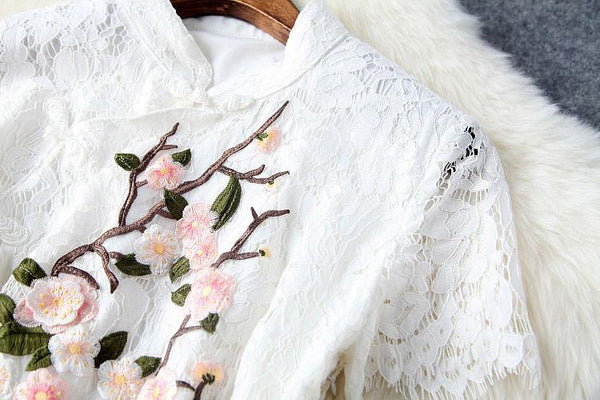 Handmade Plum Embroidered Collar Lace Dress For Big Sale!- Fowish.com