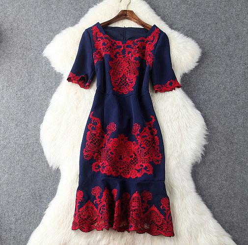 Hollow Out Embroidery Fishtail Dress For Big Sale!- Fowish.com