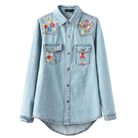 Embroidery Blue-washed Distressed Denim Shirt For Big Sale!- Fowish.com
