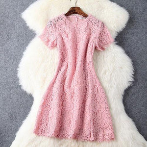 Sweet Crochet Hollow out Pink Lace Dress &Party Dress For Big Sale!- Fowish.com