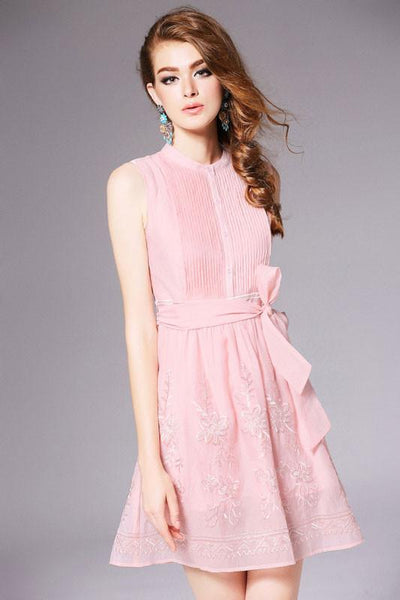 Pleated Solid Color Sleeveless Embroidered Dress &Party Dress For Big Sale!- Fowish.com