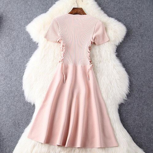 Knitted Hand-made Mosaic Weave Swing Silm Dress&Party Dress For Big Sale!- Fowish.com