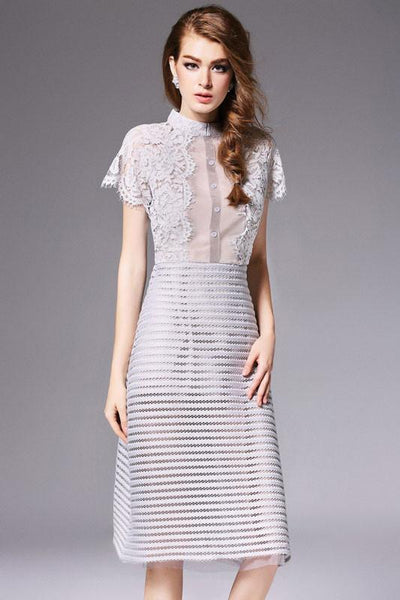 Organza Lace Stitching Hollow Stick Slim Dress&Party Dress For Big Sale!- Fowish.com