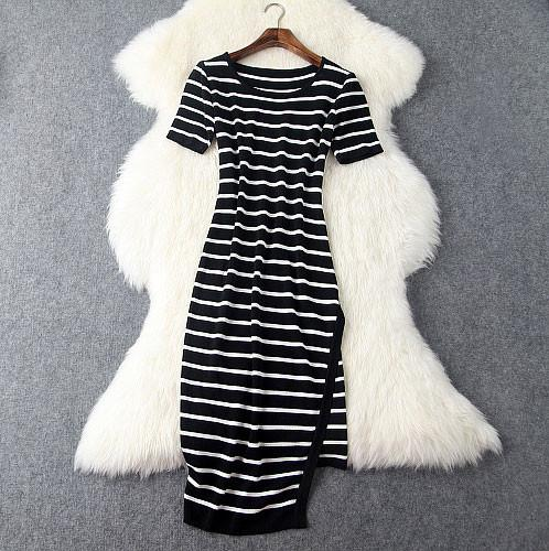 Irregular Black And White Stripes Dress &Party Dress For Big Sale!- Fowish.com