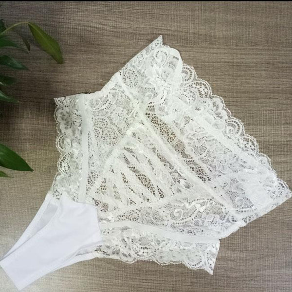 Sexy Women's Lace Cross Straps Mesh See Through Hollowed-out High-waist Lady Briefs Underwear Lingerie For Big Sale!- Fowish.com