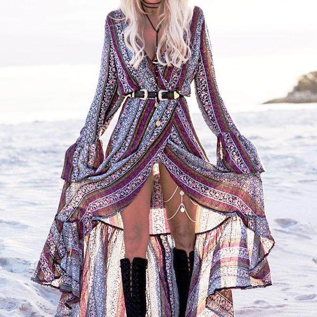 Women's V-neck Long Sleeves Bohemian Printing Full-lengh Dress With Belt For Big Sale!- Fowish.com