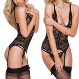 Sexy Lace Mesh See Through One-piece Waistcoat Deep V-neck Women's Lingerie For Big Sale!- Fowish.com