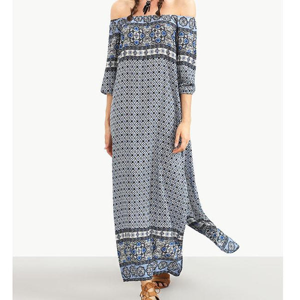 Women's Horizontal Neck Bohemian Printing Lateral Split Dress For Big Sale!- Fowish.com