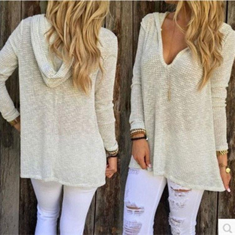 Fashion Deep V Collar Casual Comfortable Hooded Knit T-shirt For Big Sale!- Fowish.com