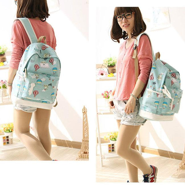 Cute Hot Air Balloon Printing Girl's Canvas Junior High Cartoon School Backpack For Big Sale!- Fowish.com