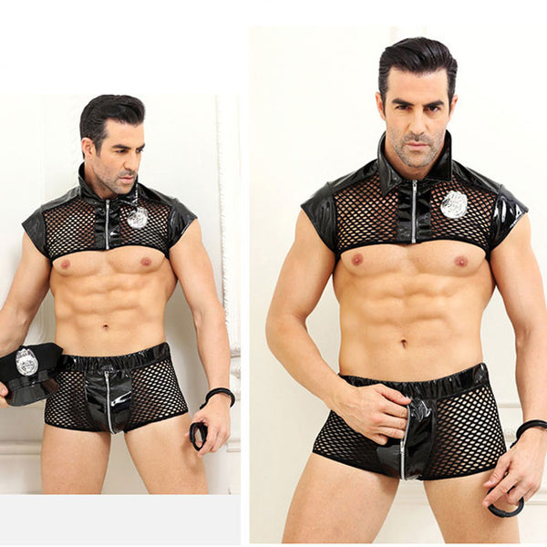 Sexy Costumes Police Uniform Temptation Bar Nightclub Police Cosplay Men's Lingerie