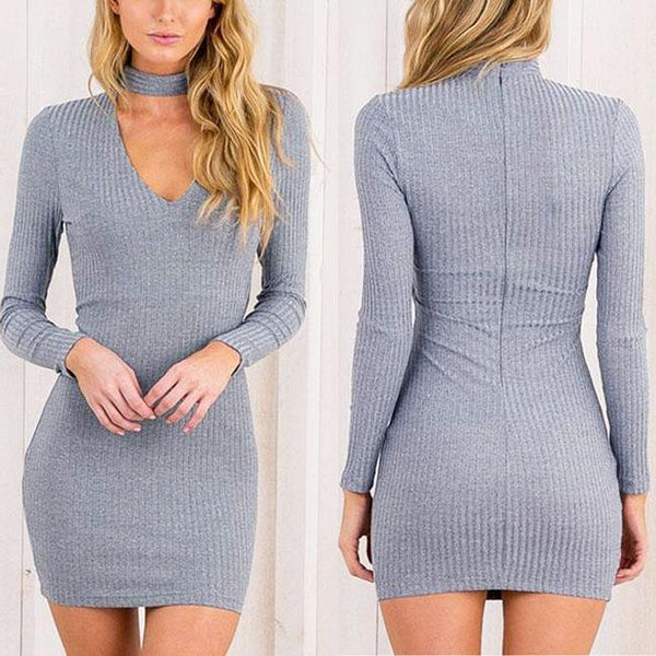 Sexy Women's Whole Color Choker V-neck Long Sleeves Package Hip Skirt Dress For Big Sale!- Fowish.com