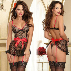 Sexy See Through Lace Splicing Silk Bowknot Black Splicing Red Backless Dress  Women's Cosplay Underwear Sleepwear Lingerie For Big Sale!- Fowish.com